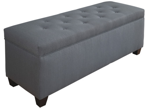 blue button tufted shoe bench