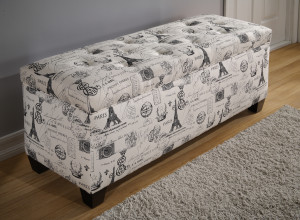 shoe storage bench with french stamp pattern