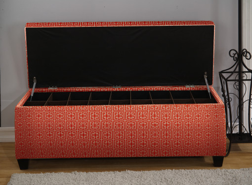 orange open shoe storage bench