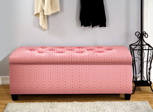 shoe bench with slot sin pink