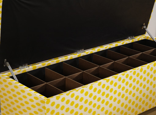 shoe storage bench with slots yellow