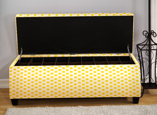 yellow bedroom shoe storage bench