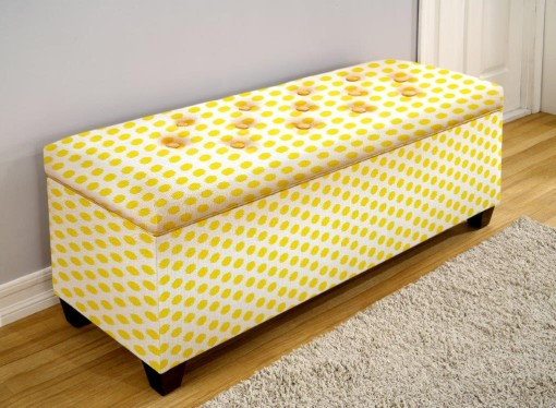 button tufted yellow shoe bench