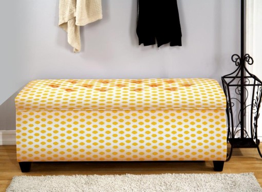 yellow shoe storage bench
