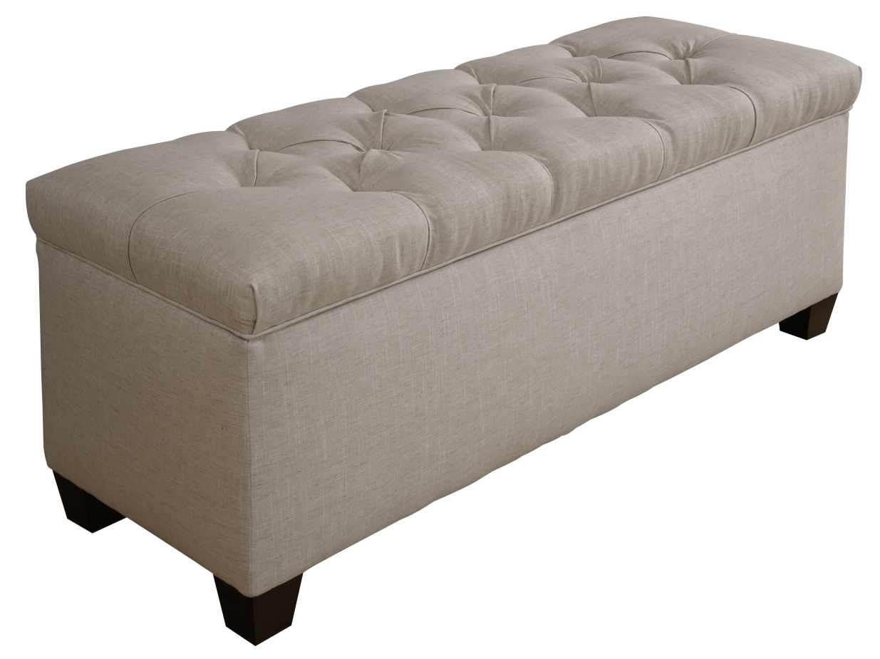 Diamond Tufted Shoe Storage Bench In Sand