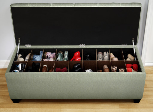green bench to store shoes