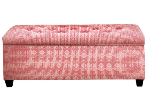 shoe storage bench in pink