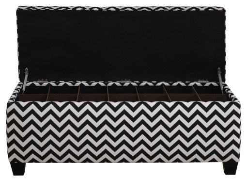 shoe storage bench with black and white pattern