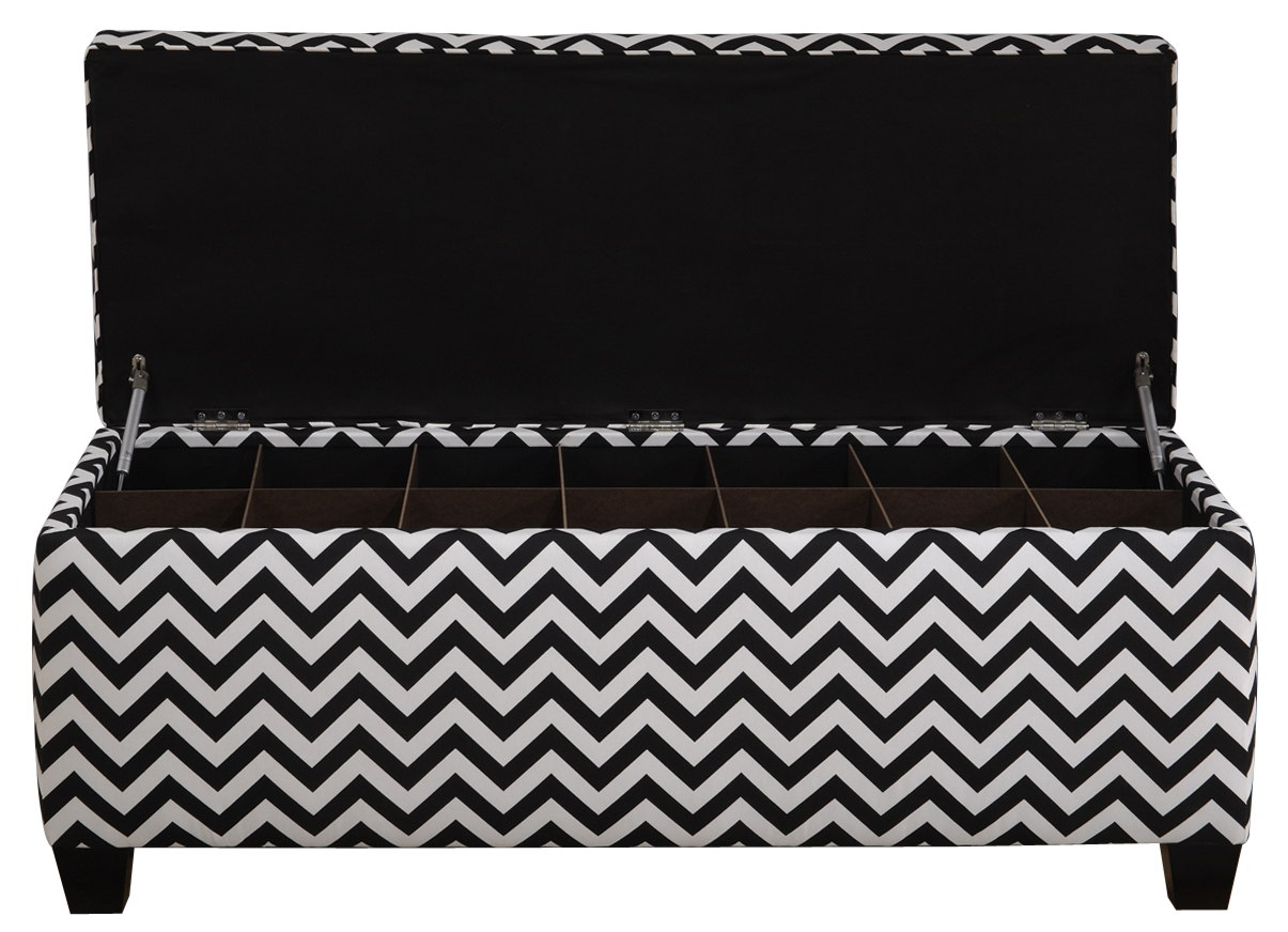 Shoe Storage Bench With Cushion Button Tufted Black White