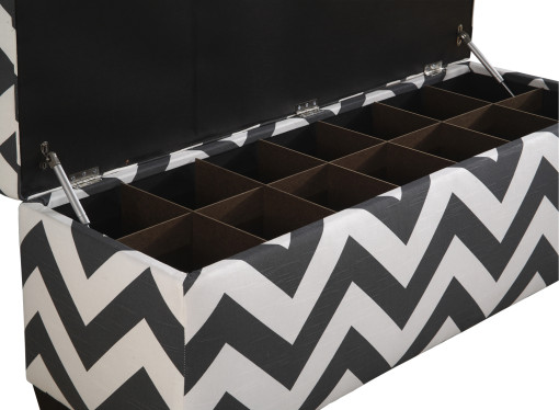 black and white shoe bench